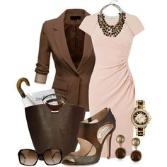 Nice color combo; blazer, dress, statement necklace