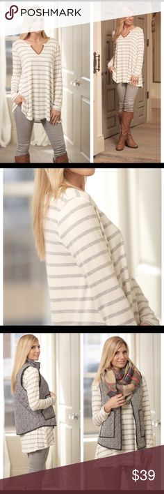 **New Arrival** Gray Striped Tunic A go to favorite and a must have for Fall.  Super soft knit and long sleeves striped tunic with a touch of suede along the V neck.  A perfect top with leggings or skinny jeans. Made in the USA.  95% rayon/5% spandex. Sizes: small (2/4), medium (6/8), large (10/12).  I'm also hoping to get the herringbone vest in so stay tuned for that. Tops Tunics