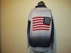 Vtg Wool Flag Sweater XL Genesis Ombre Ladies Navy by ThenForNow, $19.99
