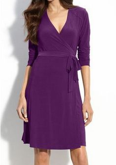 A wrap dress can be a very flattering look but much more difficult to make business appropriate.  You run the risk of too much cleavage or other wardrobe malfunctions.