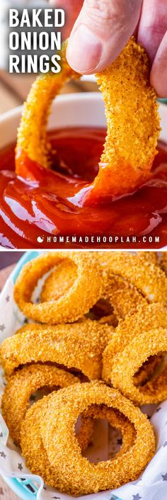 These baked onion rings are sliced thick, lightly seasoned, and cooked in the oven until tender on the inside and crisp on the outside. They're perfect for a healthier, low-hassle side dish or easy snacking. Yummy Appetizers, Appetizer Recipes, Snack Recipes, Cooking Recipes, Baked Onion Rings, Healthy Onion Rings, Homemade Onion Rings, Onion Rings Recipe, Baked Onions