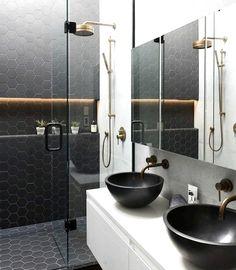 Unordinary Best Ideas Black Shower Tiles Design 4 — Home Decor Ideas Diy Bathroom Decor, Bathroom Styling, Bathroom Interior Design, Shower Tile Designs, Best Bathroom Designs, Shower Tiles, Guest Bathrooms, Upstairs Bathrooms, Black Shower