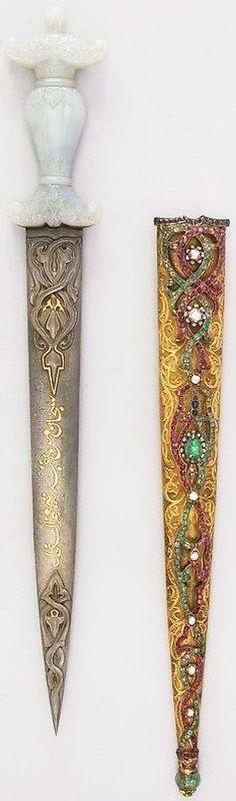 Ottoman dagger, 19th century, steel, gold, jade, diamond, sapphire, ruby, emerald. — with Mary Silva FB via Selke Leon FB