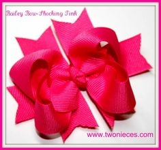 Two Nieces Bailey BowShocking Pink by TwoNieces on Etsy, $4.50