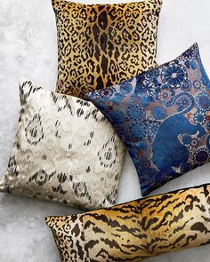 Our Scalamandre collection is created with luxurious fabrics. Consider this bold combo made up of our Leopard Pillow Cover, Tashkent Pillow Cover, Siberian Tiger Pillow Cover and the Animal Pillow Cover.