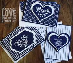 handmade trio of cards ... navy and white ...  patterned paper background ... layered die cut focal points with big embossed sentiments ... great set ... Stampin' Up!