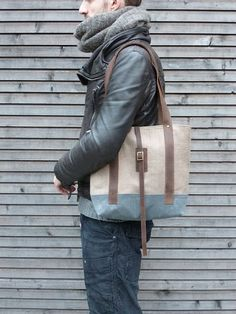 Tote bag made from Belgium linen and waxed canvas by treesizeverse, $129.00