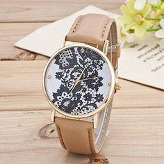 Retro Spitzen Uhr Lederausstattung Leichtmetall Damen Analoge Quarz Armbanduhr Khaki - http://uhr.haus/sanwood/khaki-retro-weltkarte-uhr-lederausstattung-2