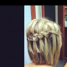 Waterfall braid works in short hair...possibility style for graduation!?