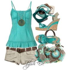 Cute top!  It looks great with these shorts and belt. I already even have sandals that match this color.