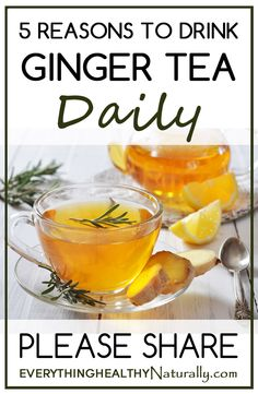 5 Reasons To Drink Ginger Tea Daily Ingredients: 1 cup water 1/4 teaspoon ground ginger 1/4 teaspoon ground turmeric Coconut milk, to taste Raw organic honey, to taste Directions: Bring water to boil. Add ginger and turmeric, reduce heat, and simmer for 10 minutes. Stir in milk and strain tea into a cup. Add honey to taste!