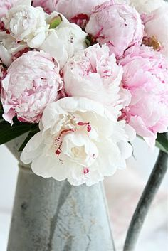 Pink peonies in a pitcher.  they were my wedding flowers.