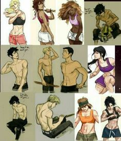 The characters showing off their muscles.  Those Jerks, showing off how inchreble hot they are.
