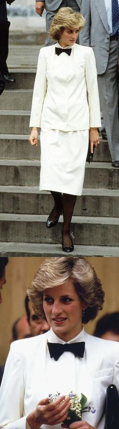 """April 24, 1985: Princess Diana in Florence visiting the Duomo, the church of Santa Croce & the Uffizi Art Gallery where she admires Botticelli's painting """"The Birth of Venus"""" during the Royal Tour of Italy. Day 6"""