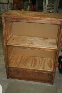 old dresser to bookshelf