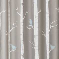 Bird On The Tree Shower Curtain Gray/Blue - Lush Decor : Target