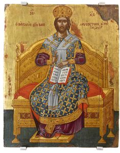 Christ the Great High Priest century, Priest Nicholas K. Christ with a patriarchal sac and a burrow as a high priest, but also with an imperial crown and emperor cord, sits on a great throne Images Of Christ, Religious Images, Religious Icons, Religious Art, Greek Mythology Art, Roman Mythology, Byzantine Art, Byzantine Icons, Christ The King