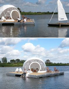 Floating Dome Home: Off-the-Grid Geodesic Island Retreat Glamping, Floating Architecture, Sustainable Architecture, Residential Architecture, Contemporary Architecture, Home Lottery, Cabana, Geodesic Dome Homes, Dome Greenhouse