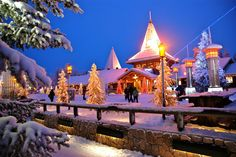 Rovaniemi, Finland is proud to be the official home of Santa Claus. Visit the Santa Claus Village in Lapland anytime of the year to meet Father Christmas and cross the magical Arctic Circle. Santa Claus Village, Santa's Village, Santa Clause, Christmas Destinations, Christmas Vacation, Christmas Holidays, Merry Christmas, Amazing Destinations, Vacation Destinations