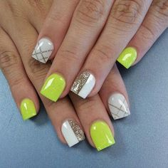 Neon green nails love love lllooovve these