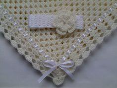 Crochet Baby Blanket and Baby Headband Set Christening Baptism Gift Girl Ivory White Flower afghan