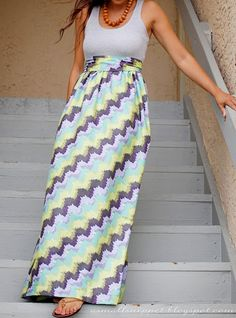 DIY maxi dress: an old tank top and whatever fabric you want.