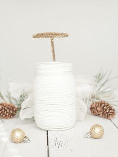 Yarn wrapped Angel mason jar luminary.