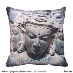 """Reflect"" purplish 3 faces statue photo pillow"