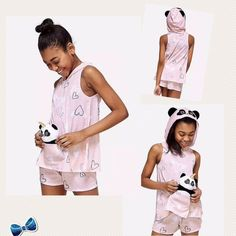 Justice Girls Size 12  Pandacorn Pouch 2 Piece Pajama Set Includes Plush NWT