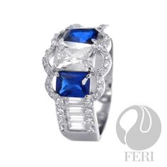 A Blue Valentine Ring - 925 fine sterling silver, micron natural rhodium, set with: AAA white and blue cubic zirconia, High Jewelry, Jewelry Rings, Jewelry Accessories, Sterling Silver Pendants, 925 Silver, Green Fashion, Shades Of Black, Just For You, Engagement Rings