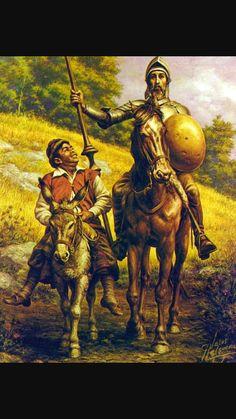 Don Quijote and Sancho Panza Man Of La Mancha, Mexican Artwork, Dom Quixote, Mexican Revolution, Chicano Art, Popular Art, Arte Popular, Chivalry, Fantasy Rpg