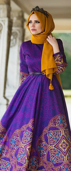 Cotton Purple Floor Length Gown With Hijab Islamic Fashion, Muslim Fashion, Modest Fashion, Girl Fashion, Fashion Outfits, Lovely Dresses, Modest Dresses, Modest Outfits, Dresses 2016
