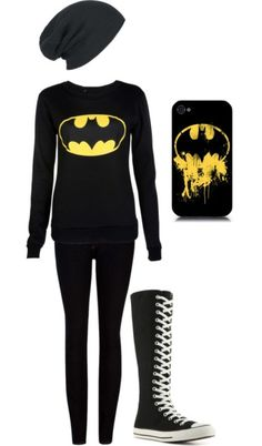 Now this is my kind of outfit but the beanie is missing the batman symbol. It also needs a cape and I would wear my batman high-tops when I get them. For my birthday or christmas I want to get a full batman outfit. Emo Fashion, Fashion Outfits, Womens Fashion, Fashion Boots, Mode Hip Hop, High Top Chucks, Moda Pop, Scene Outfits, Cute Emo Outfits