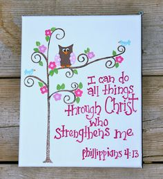 Items similar to 8 x 10 Bible Verse Original Painting - Children's Art - Canvas - scripture -Phillippians on Etsy