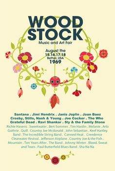j u l i a Woodstock Plus<br> julia-pons Woodstock Poster, Woodstock Hippies, Janis Joplin, Beatles, Hippie Party, Vintage Music Posters, Woodstock Festival, The Family Stone, Hippie Love