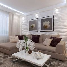 Cozy living room in bright colors ☝️😍 Decor .- A cozy living room in bright colors ☝️😍 Wall decor – gypsum panels, we discussed them somehow 😉 It looks especially good with lighting 😍 … - Living Room Tv, Small Living Rooms, Living Room Lighting, Interior Design Living Room, Living Room Designs, Bedroom Decor, Wall Decor, House Design, Home Decor