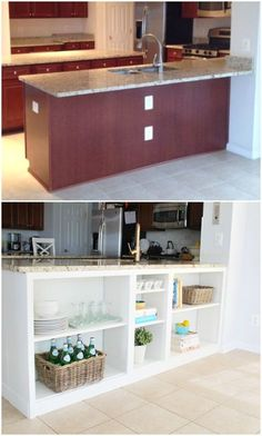 BOOKSHELVES If your countertop has quite a bit of overhang, consider using that to your advantage and turning the empty space underneath into extra storage. All you need are some IKEA Billy Bookcases and paint and–bam!—you've got plenty of room to try out the open-shelving trend. Tutorial at source.