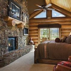 This master bedroom in this handcrafted log home is a place to escape and relax complete with a private fireplace, flat screen tv, private patio, and king size bed. Any of PrecisionCraft's plans can be designed to be your log home masterpiece. Types Of Furniture, New Furniture, Furniture Making, Bedroom Furniture, Furniture Makeover, Rustic Bedroom Design, Rustic Bedrooms, Bedroom Designs, Bedroom Ideas