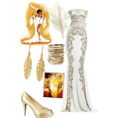 Tiana's place by violetvd on Polyvore featuring polyvore fashion style Nine West Melinda Maria Amrita Singh Colette Malouf Zuhair Murad