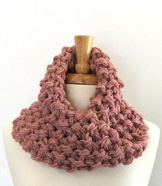 Chunky Knit Dusty Rose Twisted Infinity Cowl Scarf by AMarieKnits,