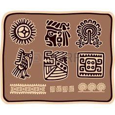 simbolos mayas: Vector conjunto de elementos de diseño en México