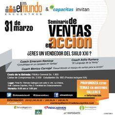 #Ventas ¿Eres un vendedor del Siglo XXI? SEMINARIO DE VENTAS EN ACCIÓN Un #evento de @elmundomovil y @TeCapacitas en #ForoElMundo con los coaches @AtilioRomeroP @emersonramirezs y @monicocarvajal http://www.tecapacitas.com  Día: Lunes 31 de Marzo Lugar: Auditorio Cadena Capriles Inscripciones: http://www.elmundo.com.ve/