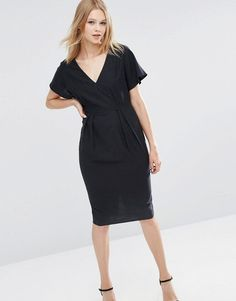 Image 1 of ASOS Wiggle Dress with V-Front and V-Back