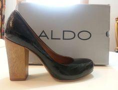ALDO Friliby Women's Pump Heels Black patent Leather Chunky Wood Heel Size 7 #ALDO #PumpsClassics