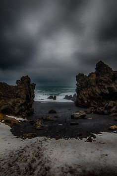 Djúpalónssandur in Iceland - Djúpalónssandur is a sandy beach and bay on foot of Snæfellsjökull in Iceland. It was once home to sixty fishing boats and one of the most prolific fishing villages on the Snæfellsnes peninsula but today the bay is uninhabited.