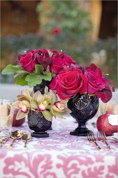 Black Milk Glass with Flowers