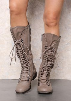 Beige Laced Up Knee High Boots - LoveCulture.com ♡