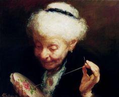 Broderie. Huile sur toile de Alexander KACHKIN (canadien né en Ukraine en 1955)