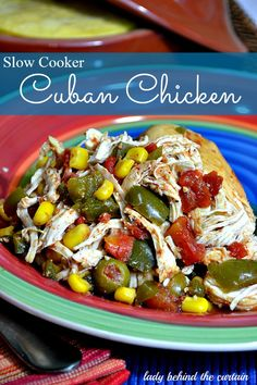 Slow Cooker – Cuban Chicken Ingredients  1 medium green bell pepper, chopped  1 small onion, chopped  1 jalapeno pepper, seeded and chopped  2-1/2 pounds bone-in chicken breast halves, skinned  14.5 ounce diced tomatoes  1 cup frozen corn  1/2 cup chicken broth  1/4 cup pitted green olives, sliced  2 teaspoon chili powder  2 cloves garlic, minced