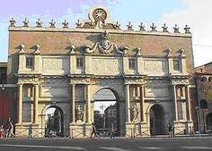 Porta del Popolo, divide Via Flaminia and Piazza del Popolo, Alexander VII commissioned Bernini to decorate the inner face. Rome.